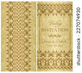 baroque invitation card in old... | Shutterstock .eps vector #227074930