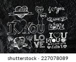 heart drawing and valentines... | Shutterstock . vector #227078089