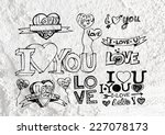 heart drawing and valentines... | Shutterstock . vector #227078173