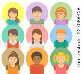 kids round flat vector avatars. ... | Shutterstock .eps vector #227086456