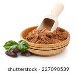 cocoa powder in wooden bowl... | Shutterstock . vector #227090539