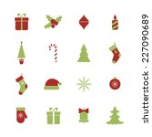 christmas icons set | Shutterstock .eps vector #227090689
