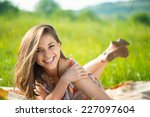 portrait of a beautiful young... | Shutterstock . vector #227097604