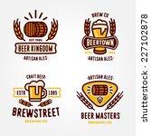 set of vintage line art badge ... | Shutterstock .eps vector #227102878