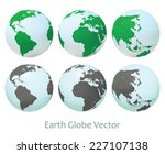 earth globe set. vector... | Shutterstock .eps vector #227107138