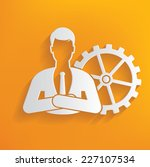 gear human resource on yellow... | Shutterstock .eps vector #227107534