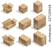 set of nine isometric cardboard ... | Shutterstock .eps vector #227133418