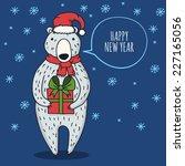 cute cartoon bear with gift box.... | Shutterstock .eps vector #227165056