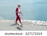 Stock photo senior woman walking her dog 227172319