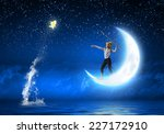cute girl fisherman throwing... | Shutterstock . vector #227172910