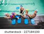 cute swimming class and coach... | Shutterstock . vector #227184100
