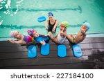 cute swimming class and coach... | Shutterstock . vector #227184100