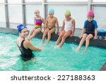 cute swimming class watching... | Shutterstock . vector #227188363