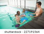 cute swimming class in pool... | Shutterstock . vector #227191564
