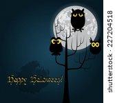 happy halloween card vector... | Shutterstock .eps vector #227204518