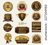 90 years anniversary labels and ... | Shutterstock .eps vector #227204983