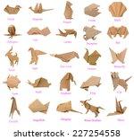 set of paper animals  wildlife... | Shutterstock . vector #227254558