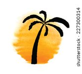 silhouette of palm trees... | Shutterstock .eps vector #227300314