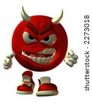 3D render of virtual model Emotiguy as an angry red devil with horns stepping aggressively toward the viewer.