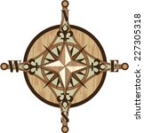Wooden Compass Vector