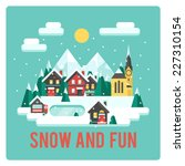 town in mountains  winter time  ... | Shutterstock .eps vector #227310154