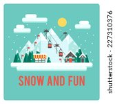 ski resort in mountains  winter ... | Shutterstock .eps vector #227310376