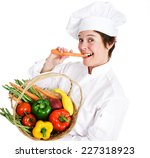 happy female chef holding a...