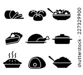 turkey dinner icons | Shutterstock .eps vector #227329900