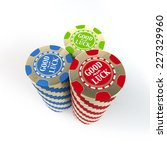 Close-up of casino chips set with a good luck wishing over white background - stock photo