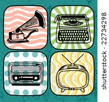 vintage technology icon set | Shutterstock .eps vector #22734298