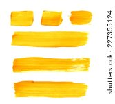 set of yellow acrylic brush... | Shutterstock .eps vector #227355124