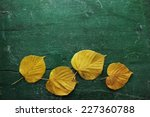 Yellow Leaves On Green Wooden...