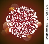 Merry Christmas Card. Merry Christmas and Happy New Year typography, handwriting - stock photo