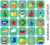 christmas icons flat vector