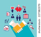 handshake and business icons... | Shutterstock .eps vector #227382370