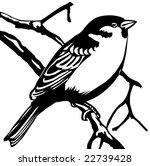 vector silhouette sparrow on... | Shutterstock .eps vector #22739428