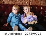 cute little blond brother and... | Shutterstock . vector #227399728