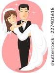 newlywed bride   groom  just... | Shutterstock .eps vector #227401618