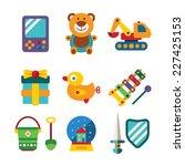 set of bitmap colorful kids... | Shutterstock . vector #227425153