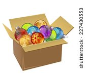 cardboard box full of christmas ... | Shutterstock .eps vector #227430553