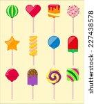 vector set of lollipops | Shutterstock .eps vector #227438578