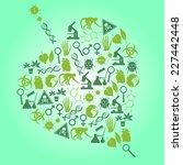 color biology icons set in leaf ... | Shutterstock .eps vector #227442448