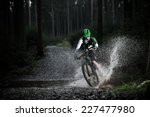 mountain biker speeding through ... | Shutterstock . vector #227477980