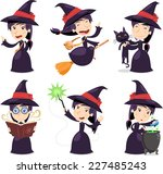 witch set with witch wearing a... | Shutterstock .eps vector #227485243