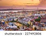 lisbon  portugal skyline at... | Shutterstock . vector #227492806