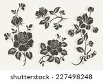 rose design elements vector set | Shutterstock .eps vector #227498248