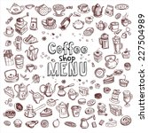hand drawn coffee and...   Shutterstock .eps vector #227504989