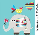 Stock vector cute elephant with bird vector illustration 227508076