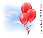 three red inflatable balloons... | Shutterstock .eps vector #227517748