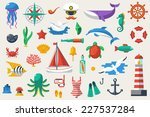 flat icons with sea creatures... | Shutterstock .eps vector #227537284